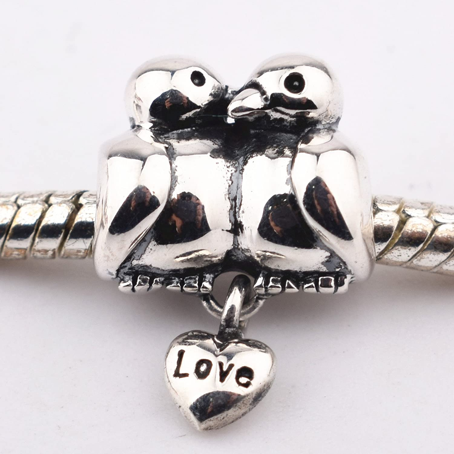Qiaose I Love You Heart Charm 925 Sterling Silver Beads Valentine Charm Gifts for Women Bracelet