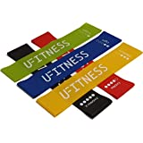 UFITNESS Premium Non Slip Resistance Exercise Bands, Resistance Loop Bands for Home Fitness, Stretching, Strength Training, Physical Therapy, Natural Latex (Set of 5)