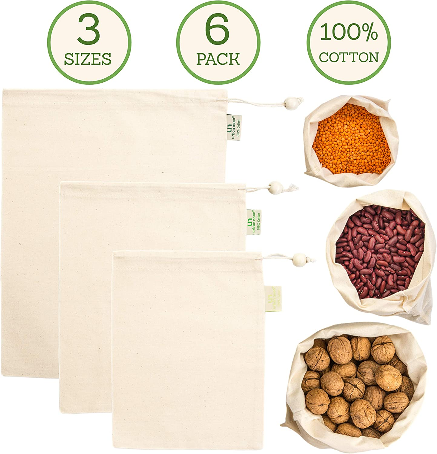 Muslin Produce Bags - Organic Cotton Reusable Eco Bag - 3 Sizes (Large, Medium, Small) in Set of 6 - Strong - with Drawstring - Tare Weight on Tag - Grocery and Storage Food Bag