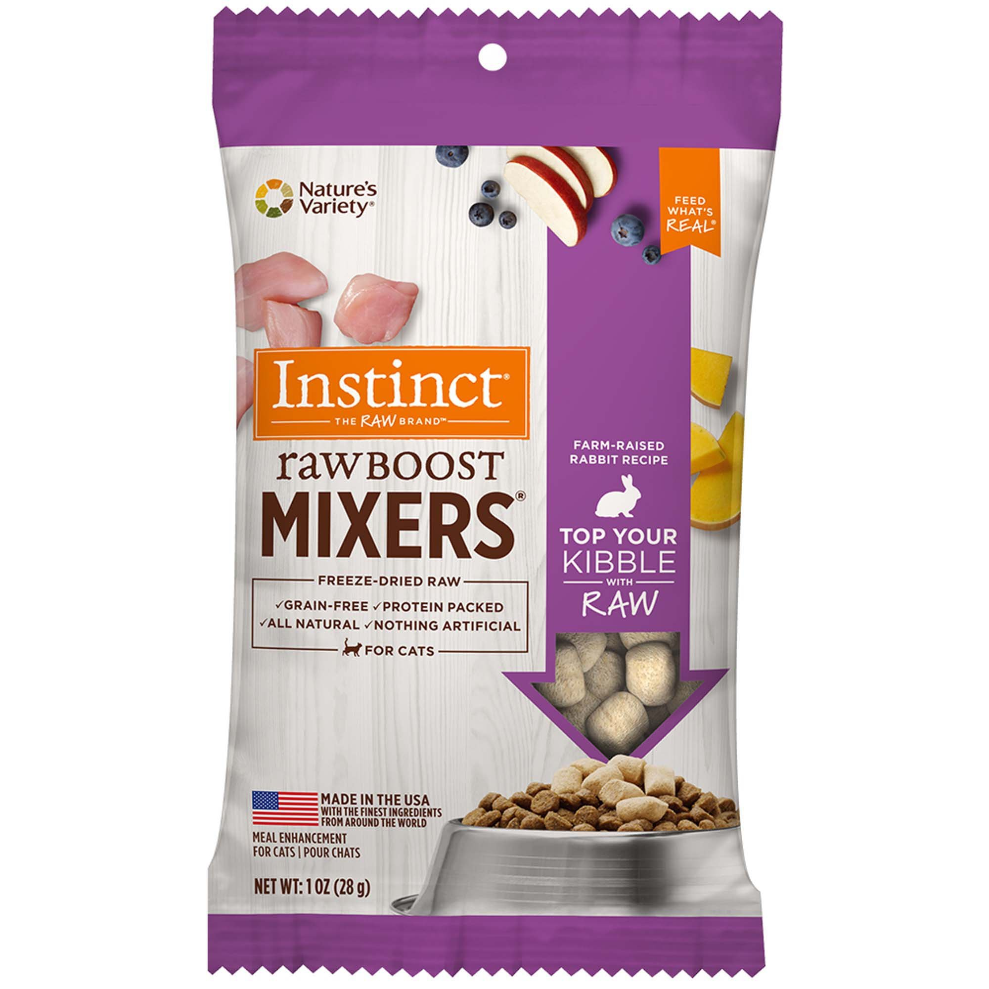 Nature's Variety Instinct Freeze Dried Raw Boost Mixers Grain Free Rabbit All Natural Cat Food Topper, 1 oz. Trial Size