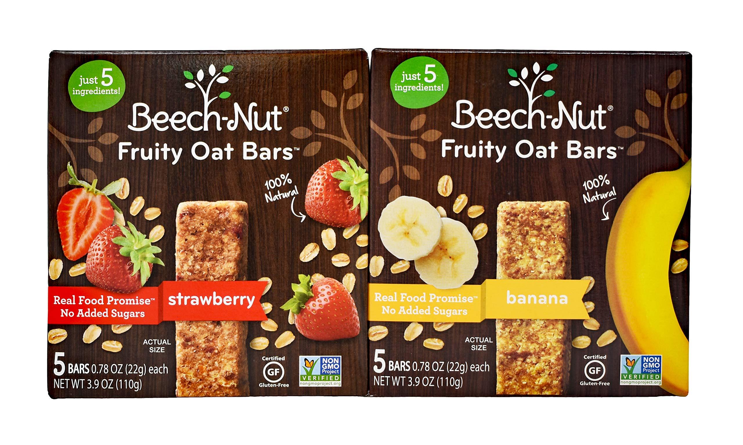 Beech-Nut Fruity Oat Bars 2 Packs. 1 Box Strawberry and 1 Box Banana 5 Bars in each Box. Plus Free Bonus 1 Pack of Baby Wipes.