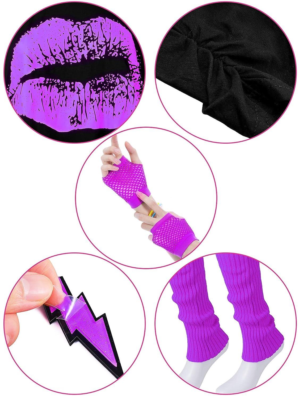 T-Shirt Tutu Bandeau Boucles doreilles Collier Jambi/ères Ensemble dAccessoires de Costume des Ann/ées 80 Violet, S