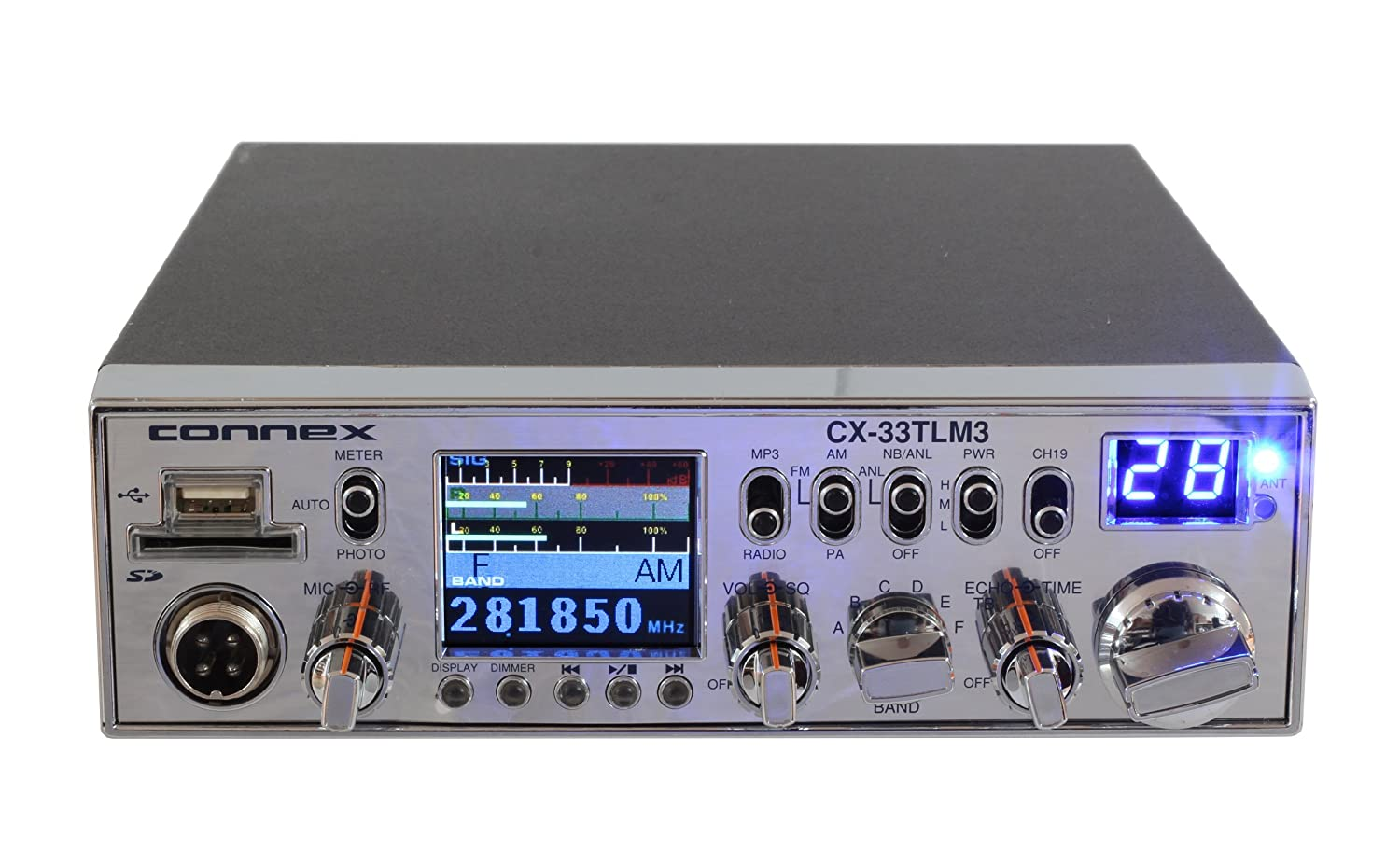 Connex CX-33TLM3 AM//FM 10 Meter Mobile Radio with TFT Display
