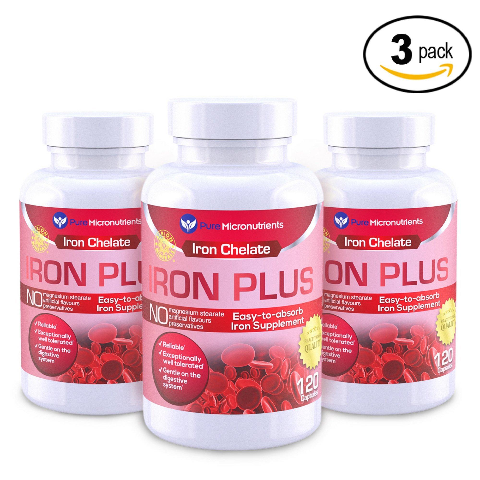 Pure Micronutrients Iron Plus Supplement, Natural Ferrous Chelate, Bisglycinate 25mg + Vitamin C, B6, B12, Folic Acid, 120 Count (3-Pack)