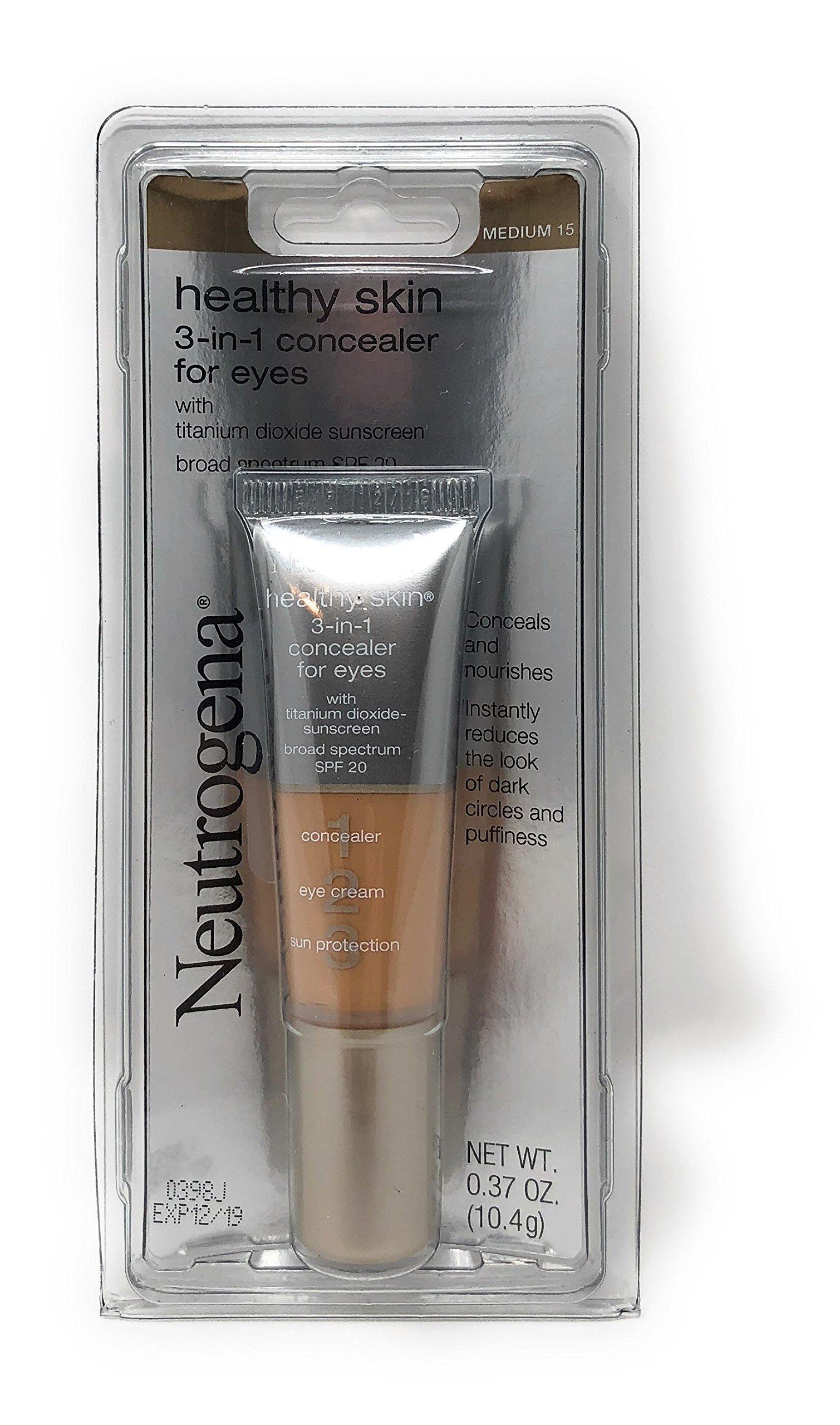 Neutrogena 3-in-1 Concealer for Eyes, Medium [15], 0.37 oz