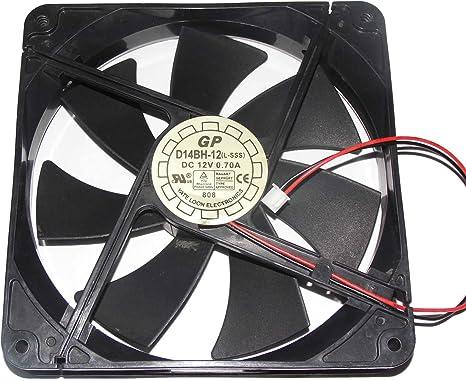 Generic 12 cm d14bh-12 (l-sss) 12 V 0,7 (GP) 2 alambre yateloon cuadrado ventilador: Amazon.es: Electrónica