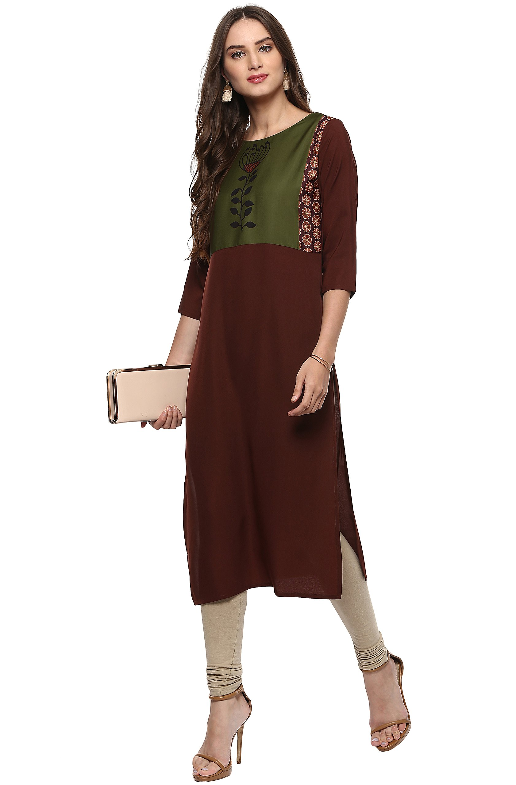 Janasya Indian Tunic Tops Crepe Kurti for Women (JNE2009-KR-310-XXL)