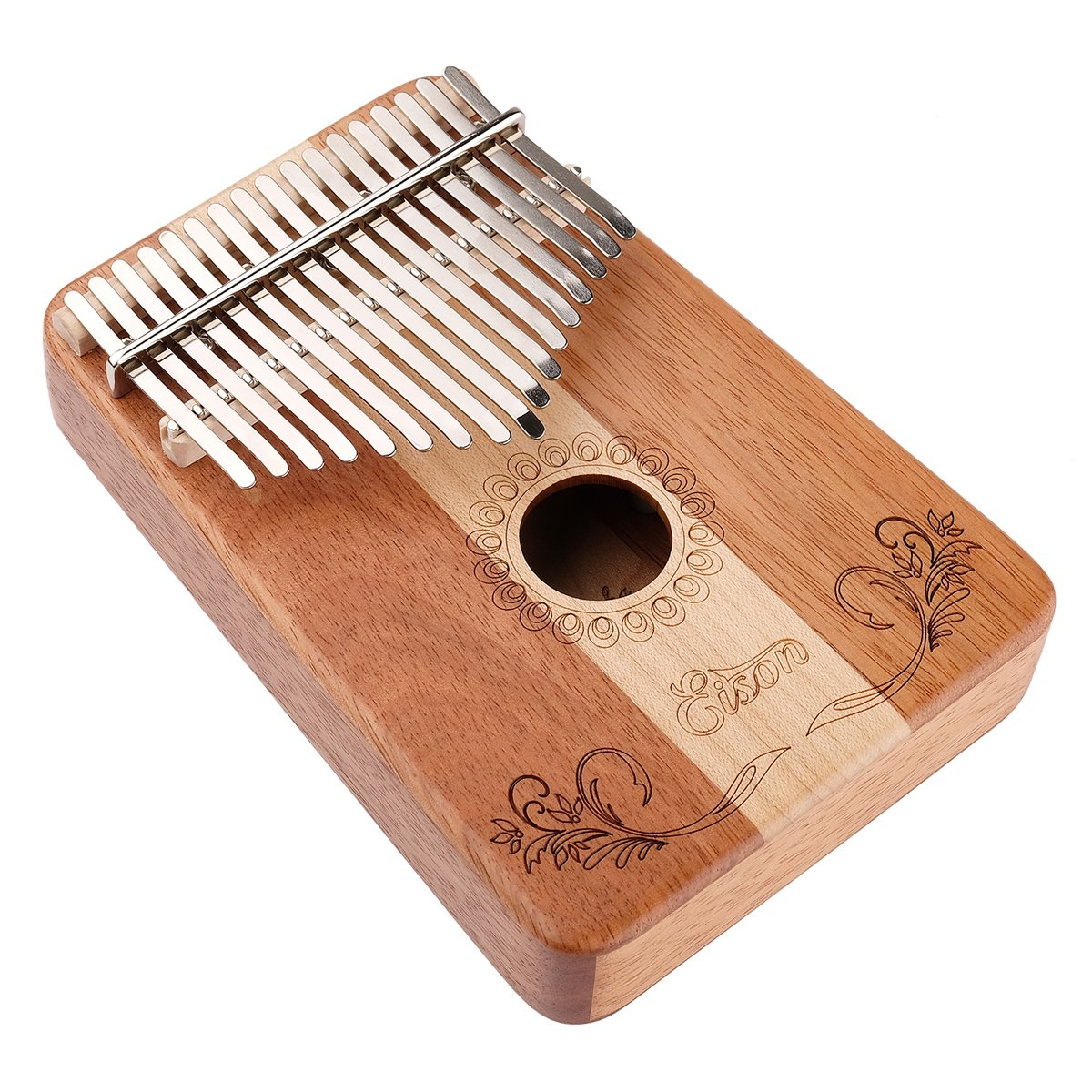 Kalimba,Eison Kalimba Thumb Piano Finger Piano 17 keys with Key Locking System with Instruction and Tune Hammer, Solid Wood Mahogany & Maple Body- Best Gift for Music Fans Kids Adults,E-17 by Eison (Image #5)