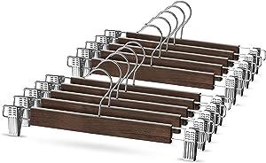 High-Grade Wooden Pants Hangers with Metal Clips 10 Pack Grip Clip Pants Hanger, Smooth Finish Solid Wood Jeans/Skirt Hanger, 360° Swivel Hook - Clip Hanger for Pant, Skirts, Slacks, Bottoms Hangers