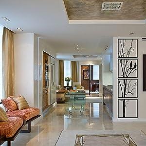 "Metal Wall Art, Birds on Branch 4 Pieces, Metal Tree Wall Art, Tree Sign, Metal Wall Decor, Interior Decoration, 4Panels Wall Hangings (12""W x 47""H / 30x120 cm)"