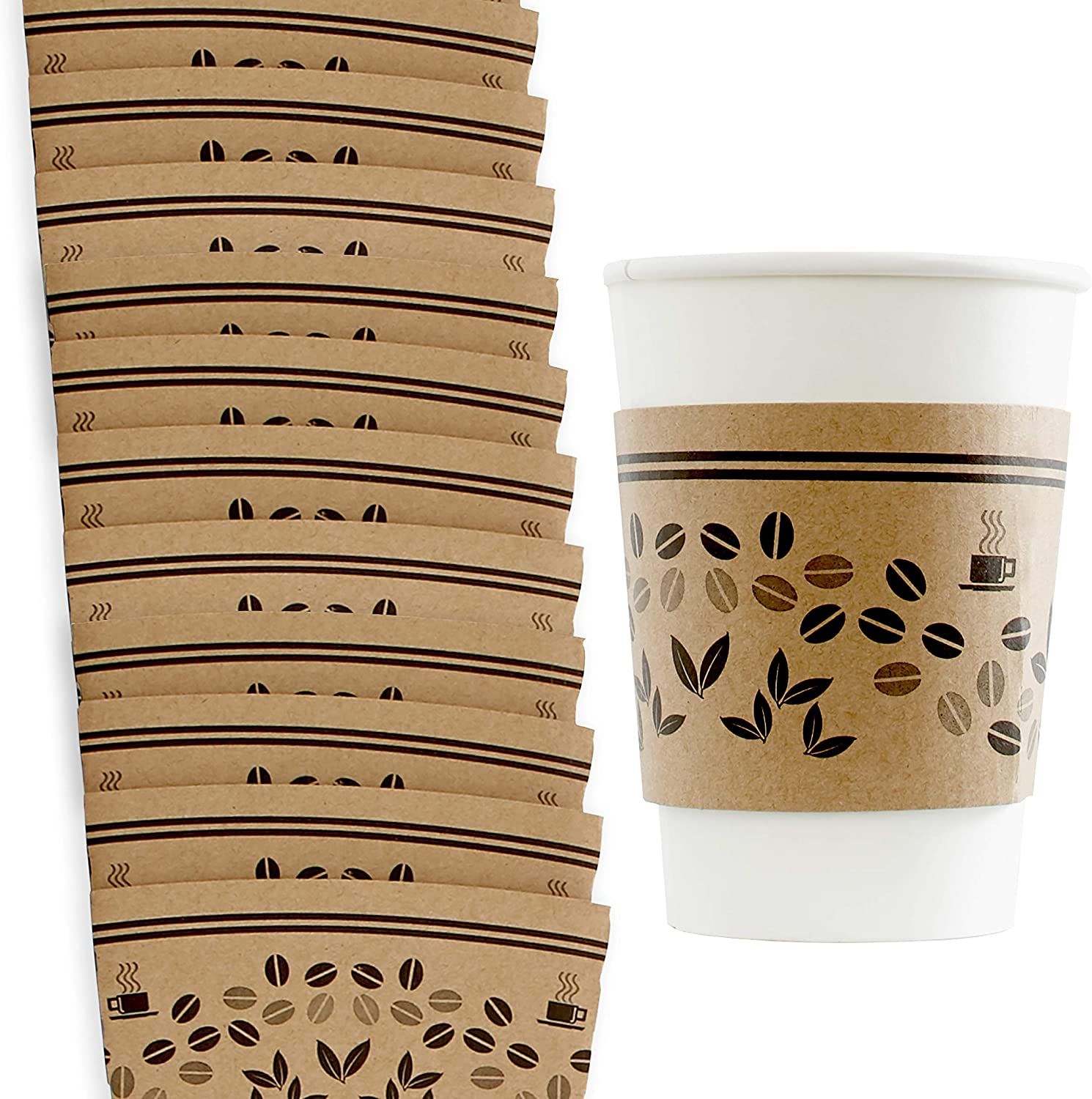 Versatile, Recyclable Coffee Cup Sleeves 10-20oz 50pk. Eco-Friendly, Disposable Cardboard Sleeve, Insulated for Hot Drinks. Fits 10 12 16 20 Ounce Togo Paper Cups. Perfect for Cafes, Shops and Office