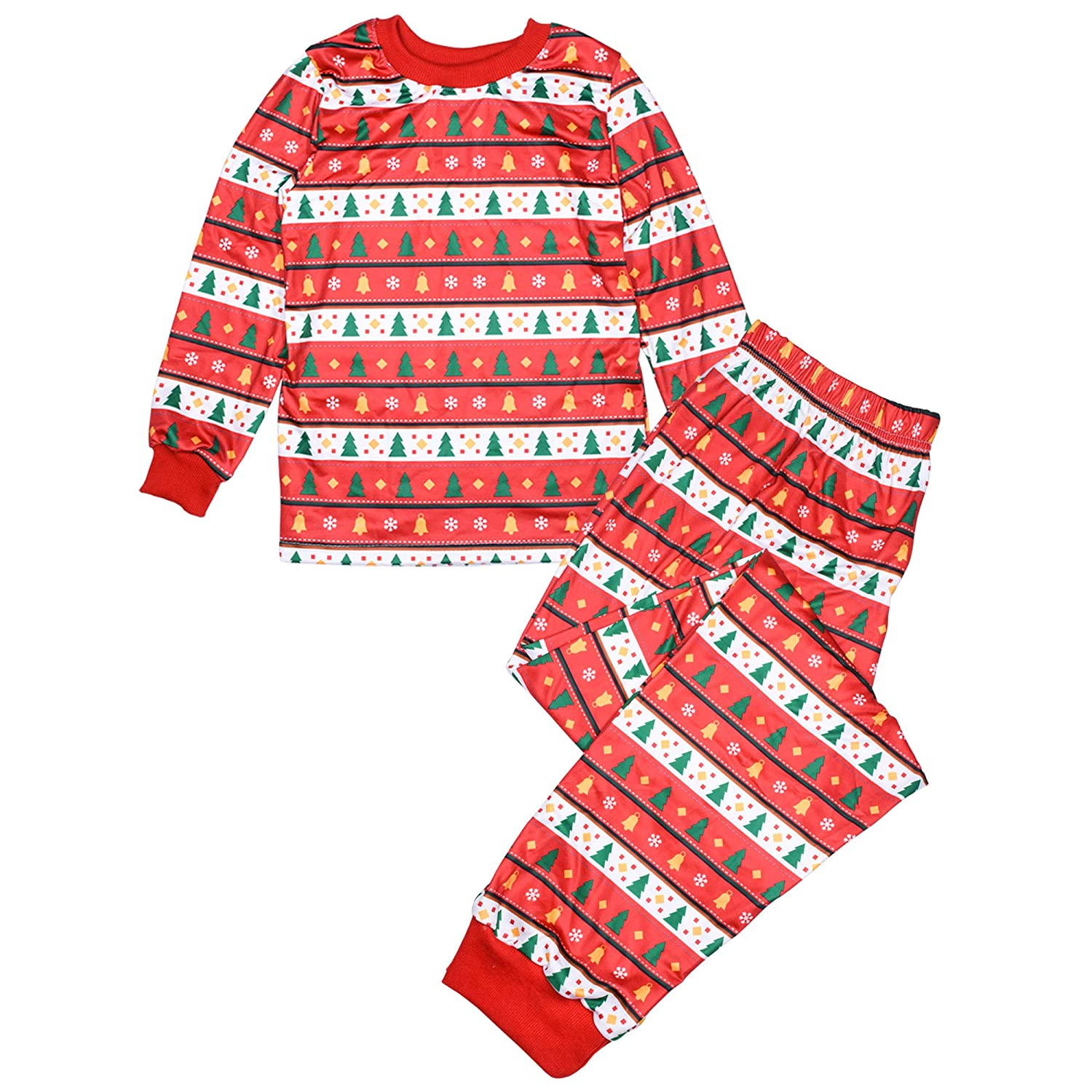 BOZEVON 2 Pieces Family Christmas Tree Pajamas - Father Mother Kids Xmas Sleepwear Nightwear Pajamas PJs Set