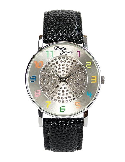 Bella joya Mujer Reloj Elba, correa de piel auténtica negro