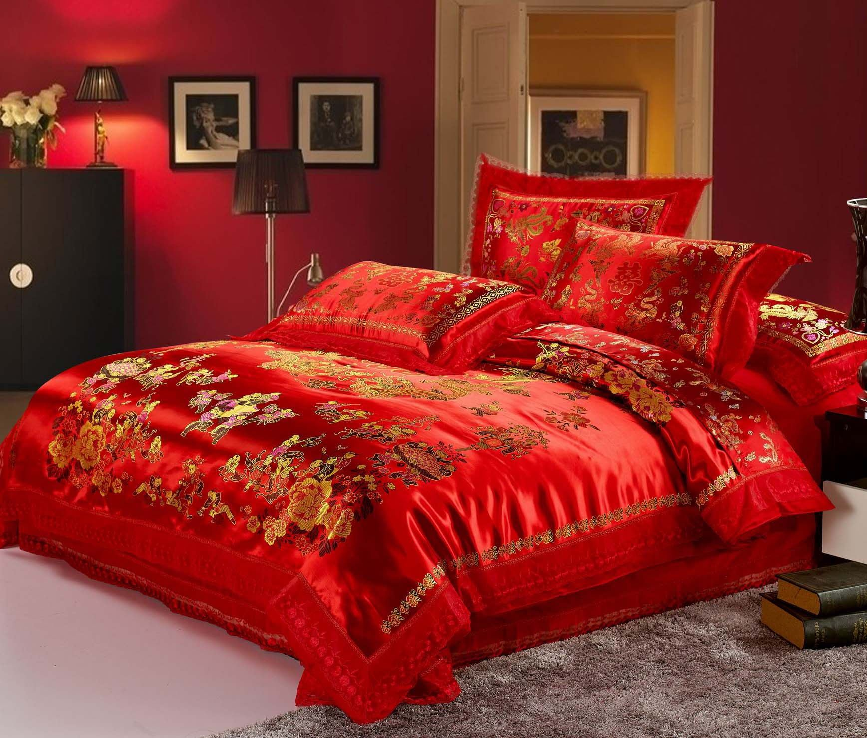 HNNSI 4pcs Wedding Bedding Sets Queen Size, Chinese Dragon and Phoenix Satin Lace Duvet Cover Set with Cotton Flat Sheet, Quit/Comforter Cover Sets, RED Bedding Sets (Queen, style4) by HNNSI