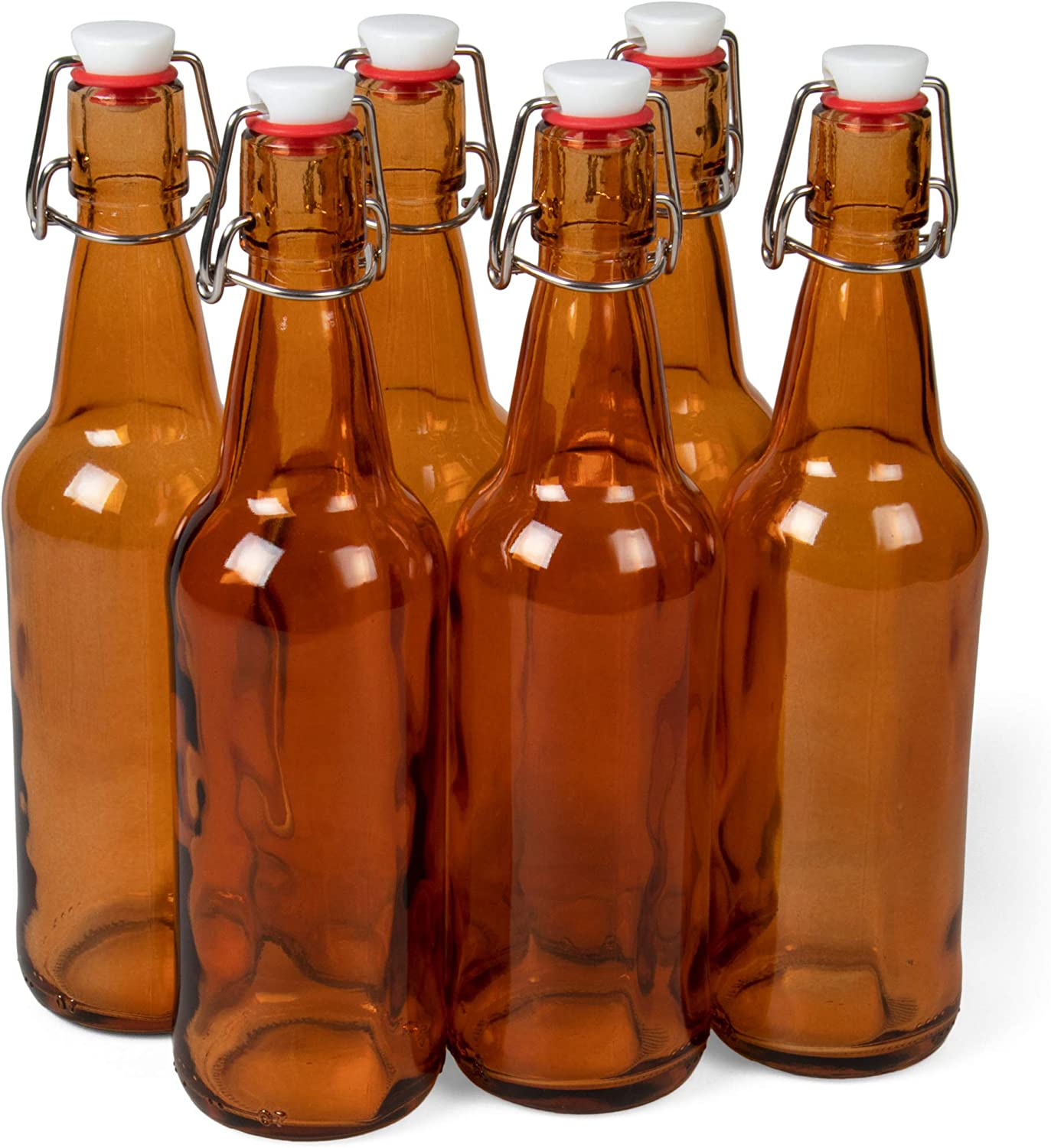 16 oz. Amber Glass Grolsch Beer Bottles, Pint Size – Airtight Seal with Swing Top/Flip Top Stoppers – Supplies for Home Brewing & Fermenting of Alcohol, Kombucha Tea, Wine, Homemade Soda (6-pack)