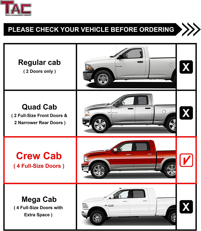 TAC Side Steps Fit 2009-2018 Dodge Ram 1500//2010-2019 Dodge Ram 2500//3500//4500//5500 Crew Cab 4.25 Oval Bend Texture Black Nerf Bars Step Rails Running Boards 2 Pcs Texture Powder Coating Brackets