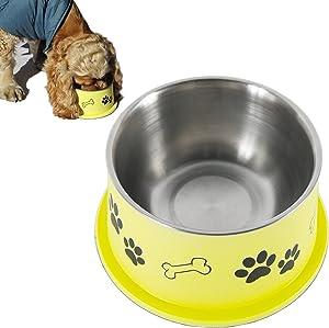 PETish Spaniel Bowl for Long Ear Dog - Ergonomic Personalized Custom Design Bowls, NO Tip Stainless Dish (Large ( 27oz - 7.5 x 6.0 x 3.7inch ), Banana Yellow)