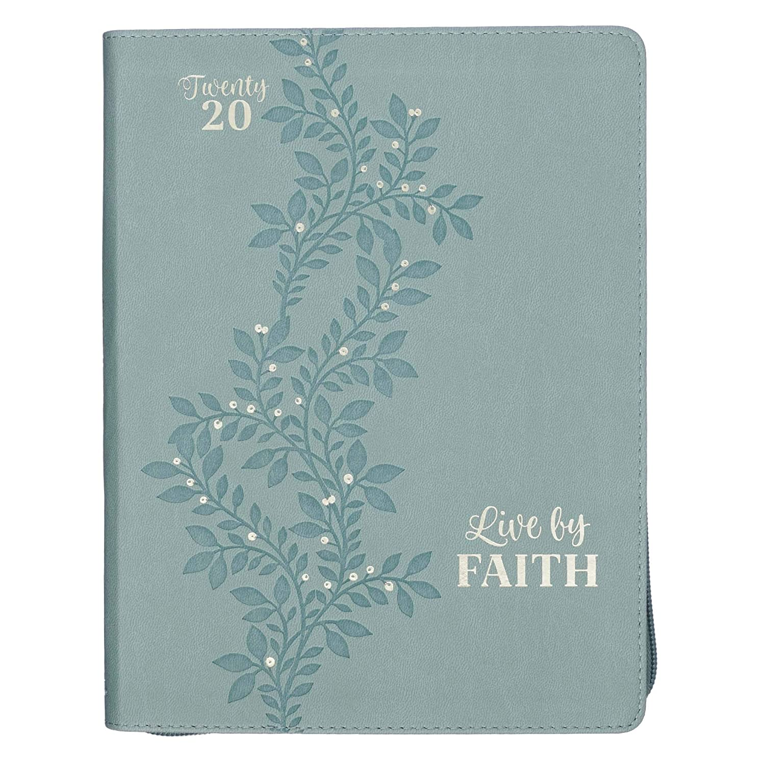 Live by Faith, Seafoam Green Large Faux Leather Zippered Daily Planner for 2020