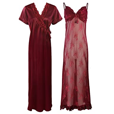 The Orange Tags Ladies 2PC Nighty Designer Dressing Gown Chemise Robe  Womens Nightdress-Deep Red 269f8e620