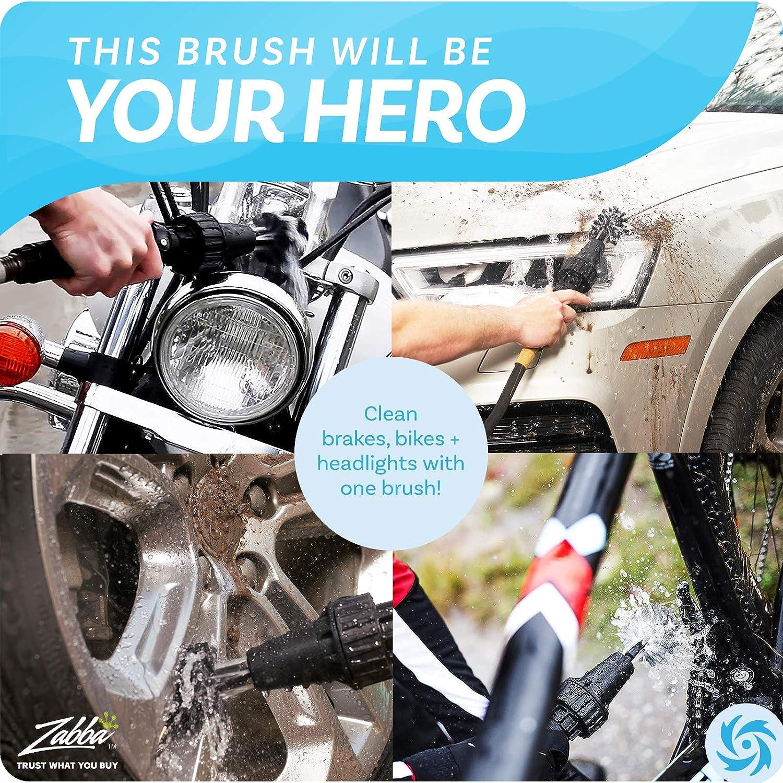 Car Wheel Brush, Premium Automotive Detailer and Tire Brush Cleaning Kit for Bikes, Engines, Trucks, Boats, Equipment, Exhaust Tips, Premium Water-Powered...