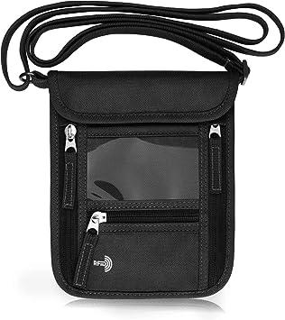 Travel Passport Neck Pouch RFID Blocking Wallet Bag Holder Card  Phone Organizer