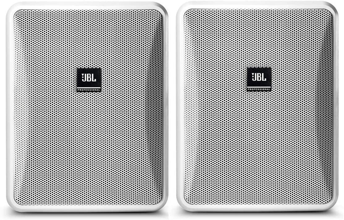 JBL Professional Compact 8-Ohm Indoor/Outdoor Background/Foreground Speaker, White, Sold as Pair