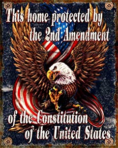 This Home Protected By The 2nd Amendment Distressed Look Tin Collectible Sign Gift