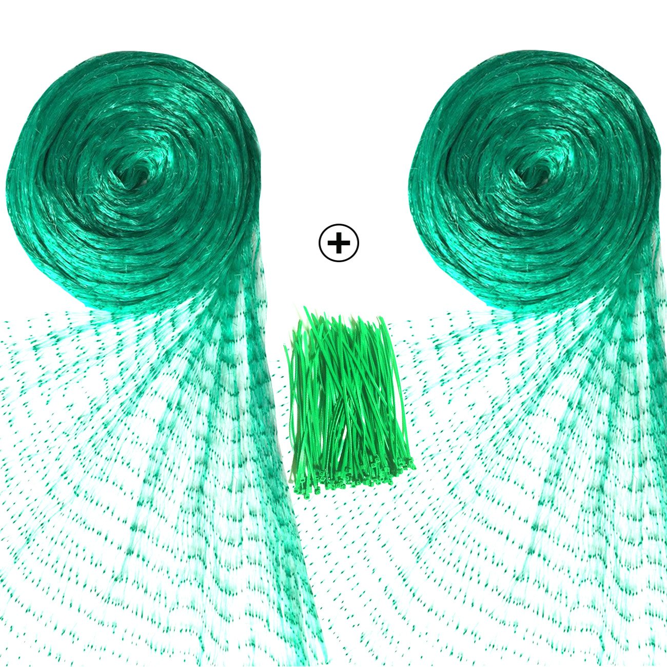 Senneny 2 Pack Bird Netting, 33Ft x 13Ft Anti-Bird Netting with 100 Pcs Nylon Cable Ties, Green Garden Netting for Protecting Plants and Fruit Trees from Rodents Birds and Deer