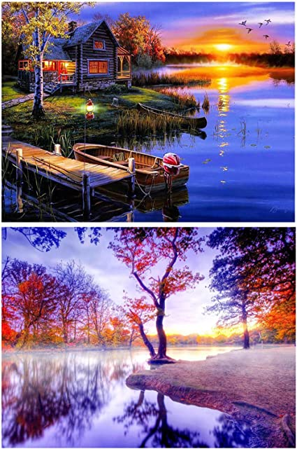DIY Full Drill 5D Diamond Painting Diamond Beach Round Home Art Decoration 2Pack