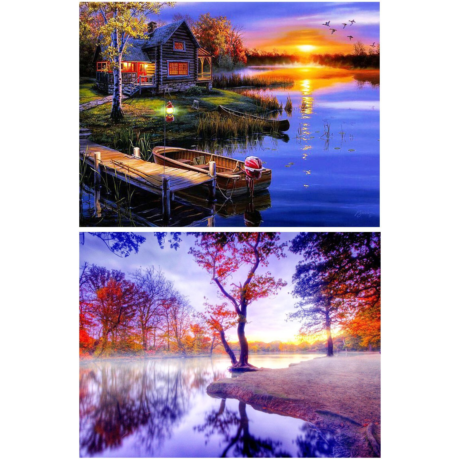 2 Pack DIY 5D Diamond Painting Kit Full Drill Painting Diamond Sticker Stitch Painting Sets Rhinestone Embroidery Set Cross Stitch Arts Craft For Living Room Decoration, Beautiful Scenery 40X30CM/16X12 BUBBLE