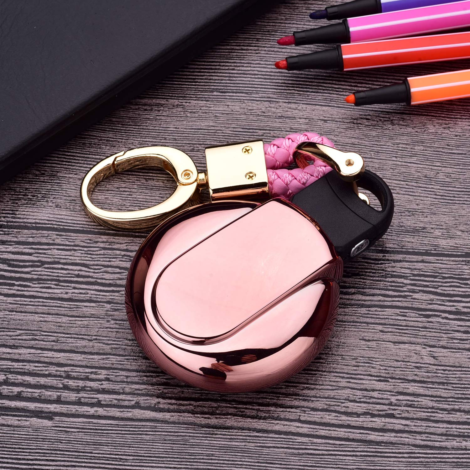Luxury 3 4 Buttons Soft TPU Smart Remote Key Fob case Cover for BMW Mini Cooper F54 F55 F56 F57 F60,with Keychain Royalfox Pink TM