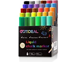 GOTIDEAL Liquid Chalk Markers, 30 colors Premium Window Chalkboard Neon Pens, Including 4 Metallic Colors, Painting and Drawi