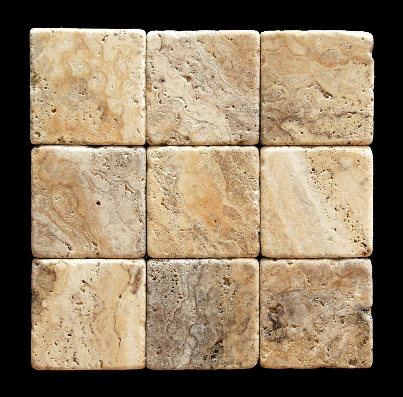 Philadelphia 4 X 4 Travertine Tumbled Tile - Lot of 50 sq. ft.