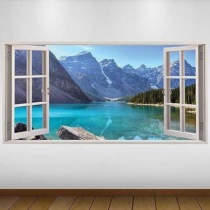 Adesivi Giganti Per Pareti.Extra Grande Blu Lake Montagne Natura 3d Vinile Sticker Decalcomania Gigante Da Parete In 3d Adesivo A Base Di Colla Vinilica Quadri Con