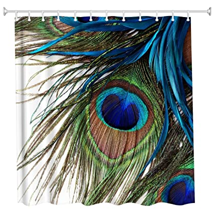 KLOLKUTTA Natural Peacock Tail Bath Curtains Pearl Ivory Bathroom Art Digital Print Polyester Fabric Shower