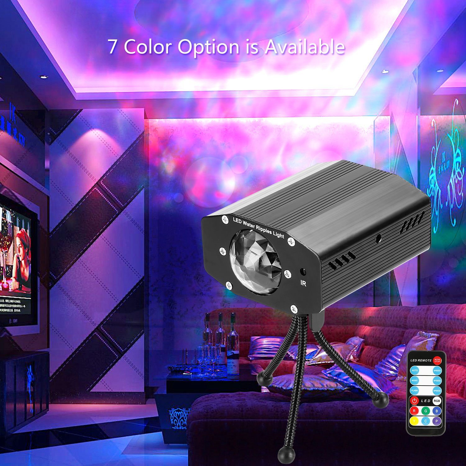 Portable DJ Party Lights 7 Color Water Waves Ripple Dance Stage Lighting  Projector Sound Music Activated with Remote For Night Party KTV Club Room