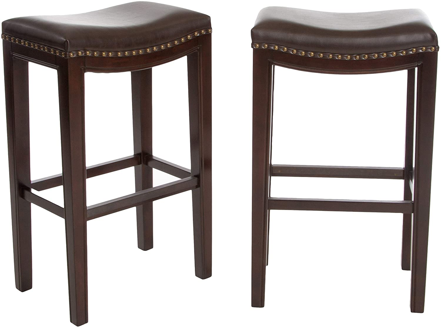 Christopher Knight Home Jaeden Backless Faux Leather Bar Stools with Brass Nailhead Studs, Set of 2