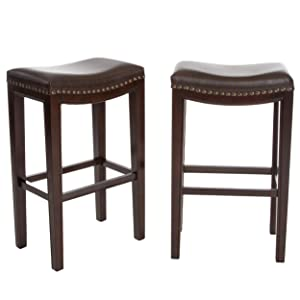 GDF Studio Jaeden Backless Brown Leather 30'' high Bar Stools (Set of 2)