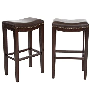 Surprising Christopher Knight Home Jaeden Backless Faux Leather Bar Stools With Brass Nailhead Studs Set Of 2 Cjindustries Chair Design For Home Cjindustriesco