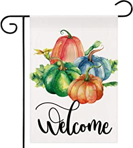 Dsweesun Welcome to Our Pumpkin Patch Fall Garden Flag 12 x 18 Double Sided, Blue Pumpkin Flag, Rustic Farmhouse Autumn Thanksgiving ?Front Porch Yard Outdoor Décor