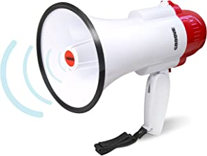 Croove Portable 30 Watt Bullhorn/Megaphone with Siren & Cheering - 800 Yard Range - Powerful and Lightweight