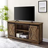 Walker Edison Richmond Modern Farmhouse Sliding Barn Door Stand for TVs up to 65 Inches, Without Fireplace, Rustic Oak