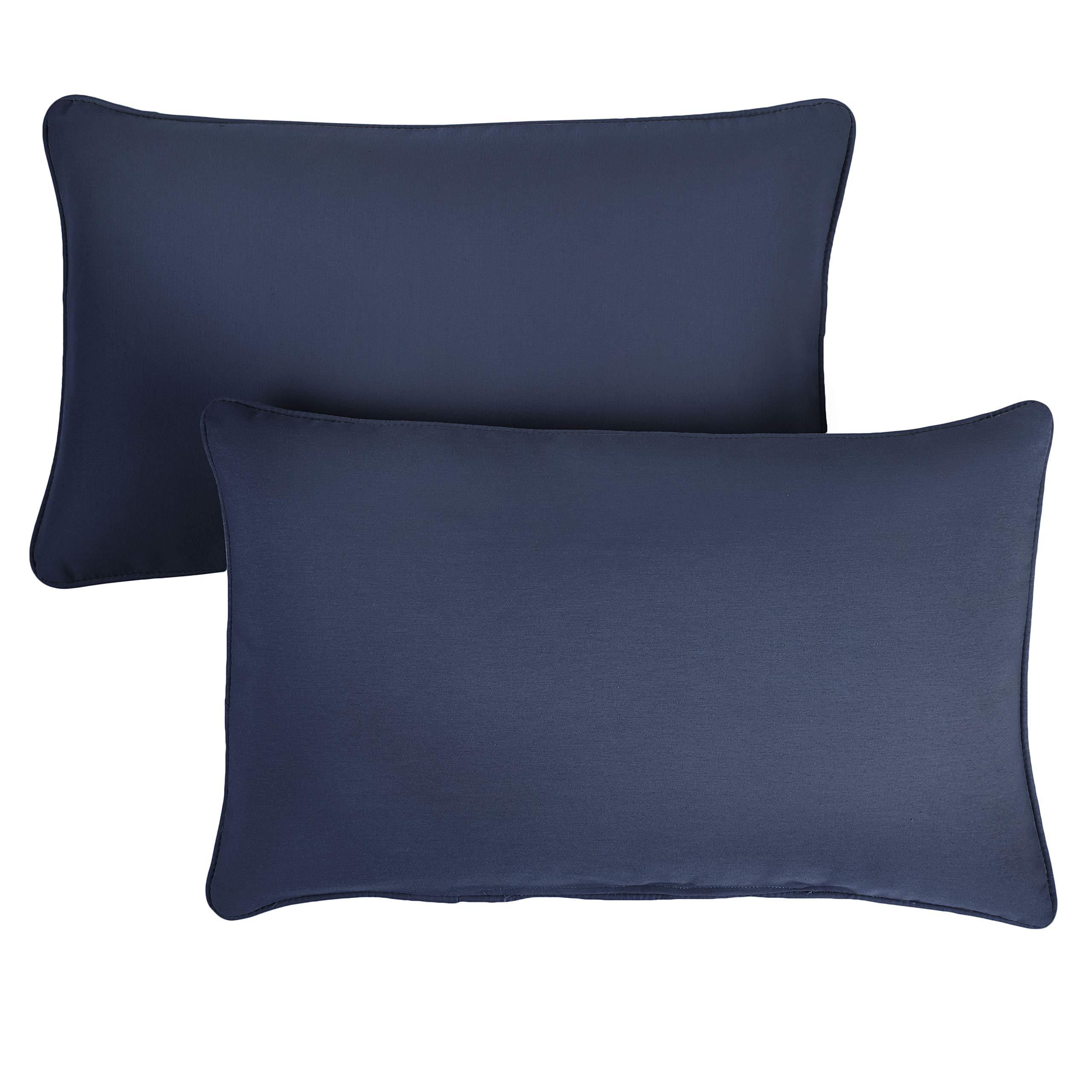1101Design Sunbrella Canvas Navy Corded Decorative Indoor/Outdoor Rectangle Throw Pillows, Perfect Patio Decor - Canvas Navy Blue 14'' x 24'' (Set of 2)