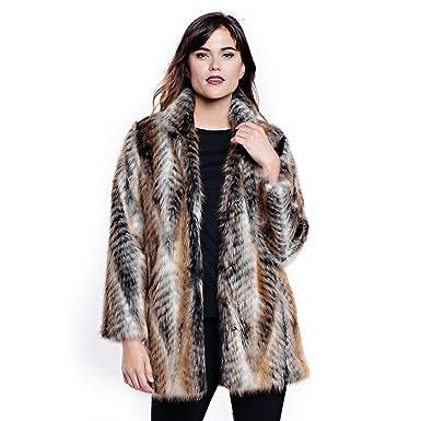 3cb29e074 Donna Salyers' Fabulous-Furs Women's Faux Fur Shawl Collar Coat, Lemur, ...