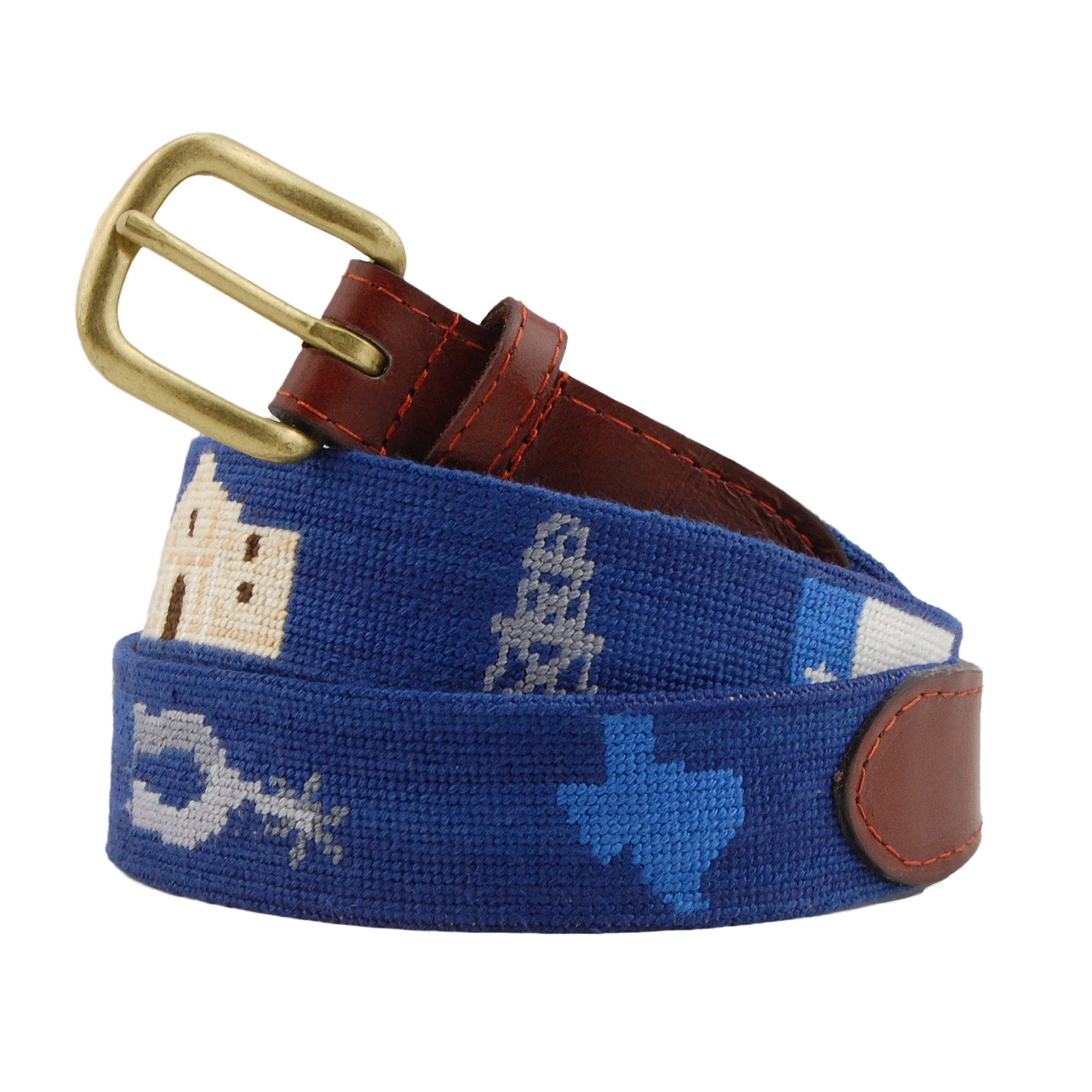 Smathers & Branson Men's Texas Life Needlepoint Belt 36 Classic Navy by Smathers & Branson