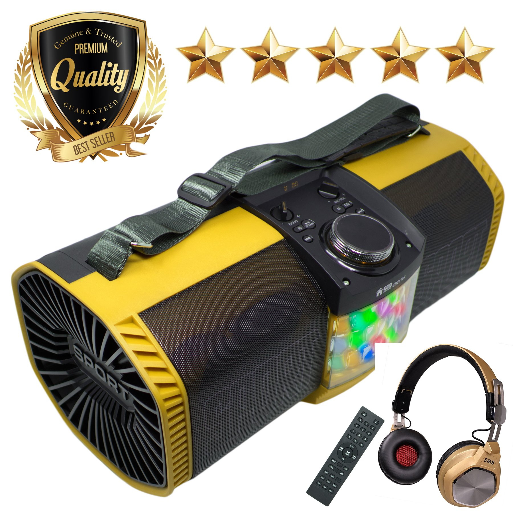 EMB Bluetooth Boombox Street Disco Stereo Speaker - 3600mAH Rechargeable Battery Portable Wireless 300 Watts Power FM Radio/MP3 Player w/Remote and Disco Lights w/EMB Headphone (Yellow) by EMB Professional