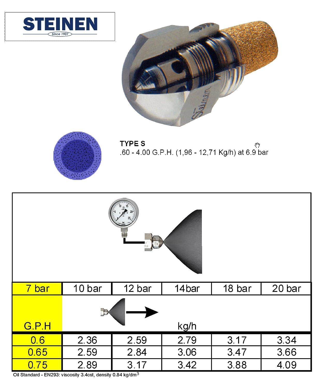0.65 USgal//h STEINEN Gicleur pour br/ûleurs /à fioul type S angle de pulv/érisation 60/°