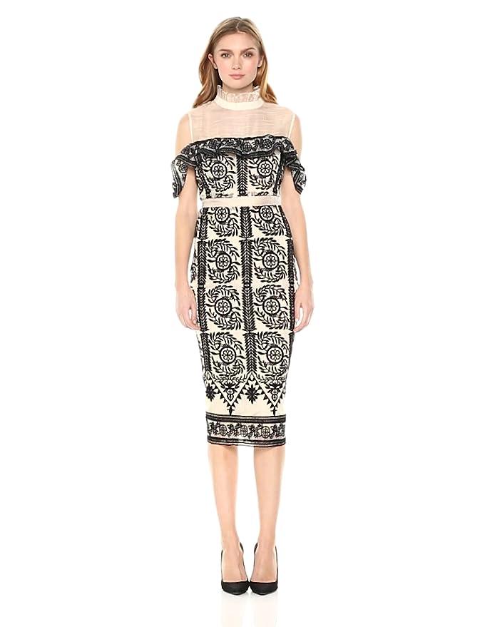 15567c68b9d6 Elliatt Women s Apparel Women s Soiree Baroque Lace Cold Shoulder Midi  Sheath Dress at Amazon Women s Clothing store