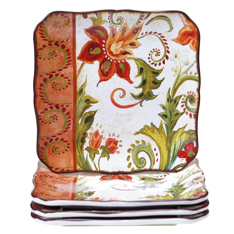 Certified International 25825SET/4 Spice Flowers Dinner Plates (Set of 4), 10.5-Inch, Multicolor