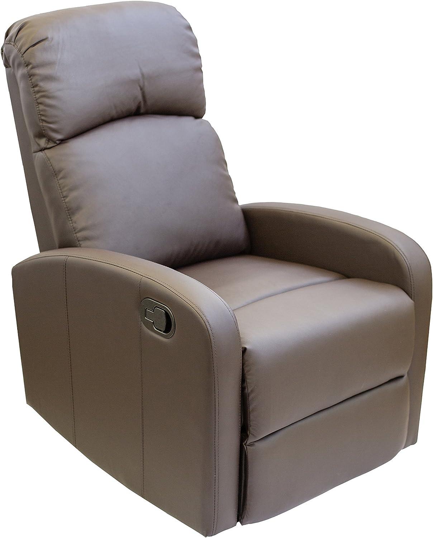 Astan Hogar Confort Sillón Relax con Reclinación Manual, Tapizado en PU Anti-Cuarteo. Modelo Premium AH-AR30600CH, Chocolate,